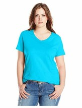 Just My Size Women's Basic Short Sleeve V-Neck T-Shirt CB4 Blue Plus Siz... - $11.29