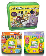 Lot of Crayola Sillyscents Sweet & Stinky Markers Green Storage Case + Stickers image 1