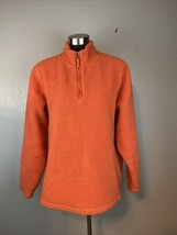 Lands End Womens Sherpa Fleece Jacket L Large Orange Cotton Knit Lined 1... - $29.69