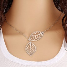 Fashion Glowing Leaf Pendant Silver Necklace Women Collier Bijoux Jewelr... - $1.99