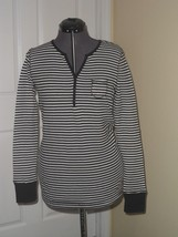 Faded Glory Knit Top Size S4/6 - M8/10 Black White Stripe Lightweight Stretch - $14.49