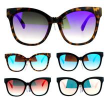 SA106 Color Mirror Flat Lens Oversize Horn Rim Sunglasses - $9.85+