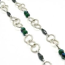 Necklace the Aluminium Long 60 Inch with Hematite Faceted and Crystal image 6