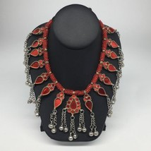Big Kuchi Tribal Necklace Afghan Ethnic Red Color Glass Jingle bell Neck... - $23.76