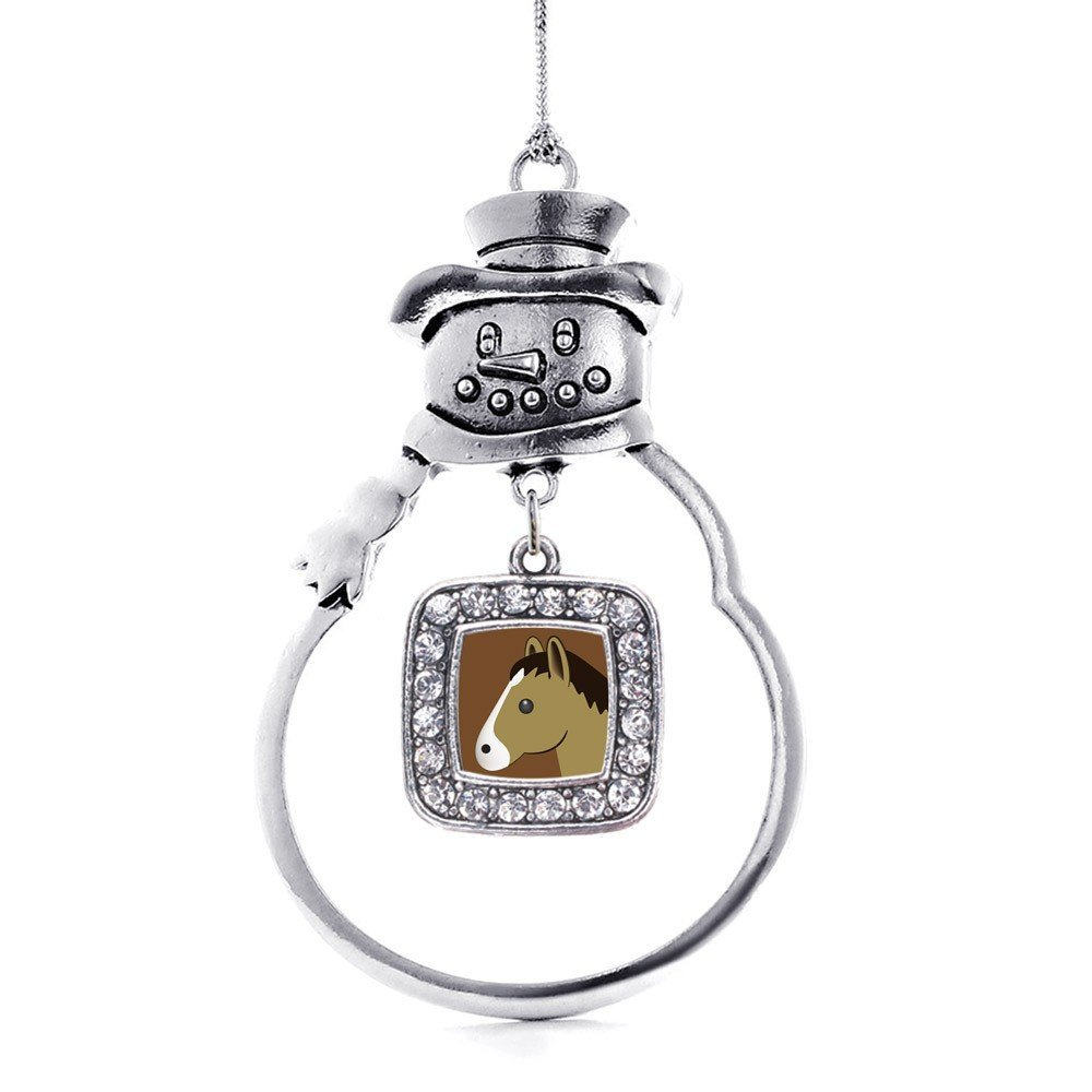 Inspired Silver Horse Emoji Classic Snowman Holiday Christmas Tree Ornament - $14.69