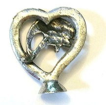 Dolphin Heart  Fine Pewter Figurine - Approx. 1 inch tall     (T240) image 2