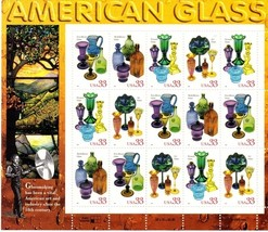 Full Sheet, USPS, AMERICAN Glass, 15 Stamps, 33 cent Stamps - $8.25