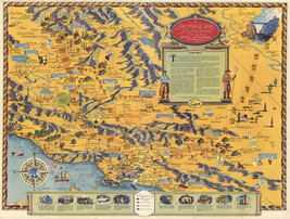 Early Pictorial Map Edison Electrical Service System California History Poster - $12.87+