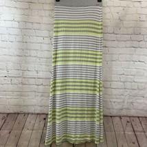 Women's Guess Sz S Gray Yellow Stripe Stretchy Maxi Long Slit Skirt - $14.03