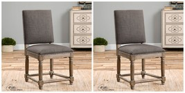 TWO MODERN RUSTIC HIGH BACK ACCENT DINING SIDE CHAIR HARDWOOD WOVEN POLY... - $1,007.60