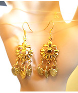 heart padlock chandelier earrings, gold earrings, flower charms steampunk  - $2.40