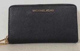 New Michael Kors Jet Set Travel Large Flat MF phone case Leather Navy - $64.00