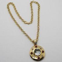 18K YELLOW GOLD NECKLACE BIG OVAL AQUAMARINE RUBY DIAMOND PENDANT SQUARE CHAIN image 3