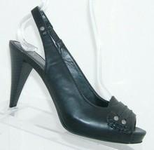 Simply Vera Vera Wang Mendoza black peep toe studded slingback heels 7M - $28.63