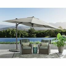 Lighted 10 X 10 Cantilever Umbrella With 4-Piece Base Lights Sunbrella O... - £430.11 GBP