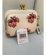 New Coach Coin Purse Flower Print White Glove Leather Brass Kisslock 796... - $137.19