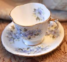 ANSLY TEA CUP SAUCER VINTAGE ENGLAND CORNFLOWER BLUE FLOWERS GOLD GILT S... - $34.99