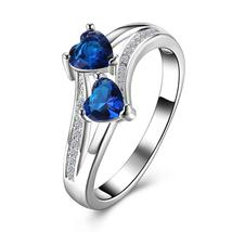 European Style Sliver Plated Two Heart Shape Crystal Ring - $9.99