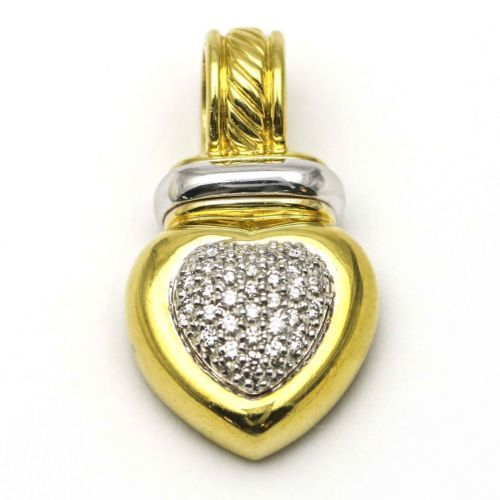 6a2f8ceb983441 12. 12. Previous. David Yurman Cable Classics Heart Enhancer Pendant in 18k  Gold with Diamonds