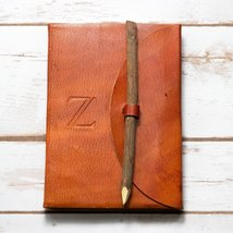 Letter Z Alphabet Handmade Leather Journal - $28.00