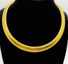 Vintage Wide Ellen Kiam Gold Tone Collar Choker Omega Necklace signed - $74.25