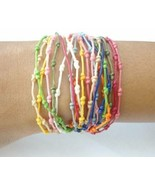 Crafted by Hand Pretty Rainbow Knotted Wax Cotton Womens BRACELET Wristband - $5.18