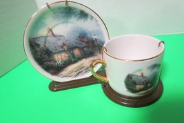 Thomas Kinkade Moonlight Cottage Plate And Cup With  W/ Display Stand Telaflora - $12.00