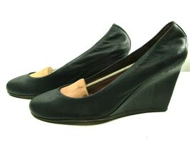 Lanvin Paris Womens Blacl Leather Round Toe Wedge High Heel Pumps Shoes US 10 image 4