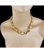 "Vintage Trifari Gold-tone Leaves Mid Century Link Choker Necklace 14-16"" - $80.99"