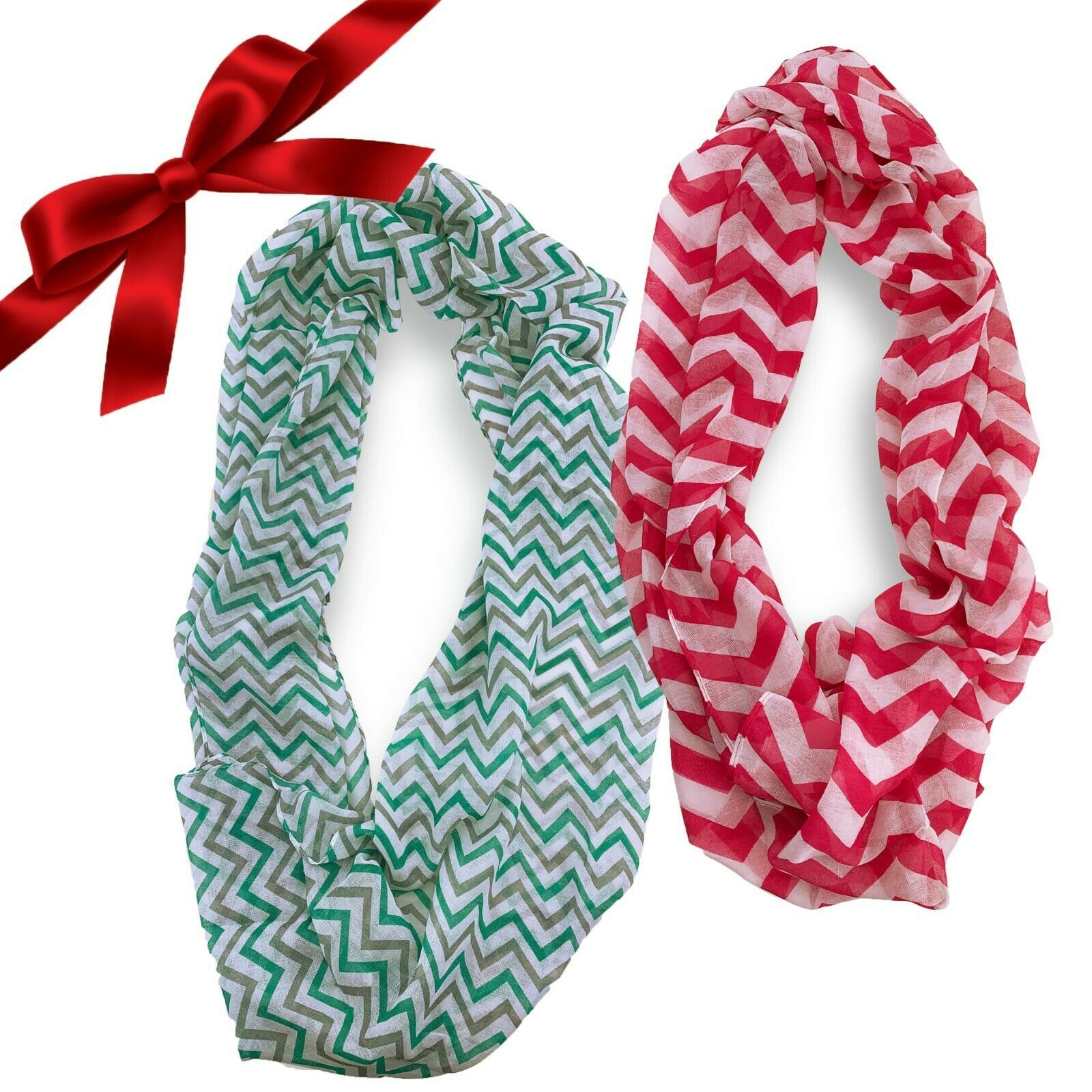 Primary image for 2pc Sheer Striped Chevron Infinity Scarves Christmas Set Wraps Headband Shawl