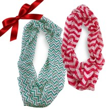 2pc Sheer Striped Chevron Infinity Scarves Christmas Set Wraps Headband ... - $9.49