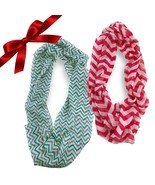 2pc Sheer Striped Chevron Infinity Scarves Christmas Set Wraps Headband ... - €8,71 EUR