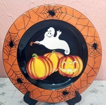 "Halloween GATES WARE by Laurie Gates 9 1/2""  Plate Ghosts Pumpkins Spide... - $41.58"