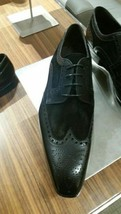 Men's Two Tone Black Oxford Suede Premium Quality Handcrafted Leather Shoes - $139.99+