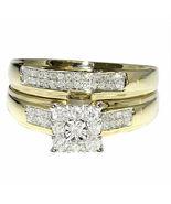 1.36 Ct D/VVS1 Diamond Solitaire Engagement Bridal Ring Set 14K Yellow Gold Over - $116.99