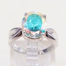 Sz 6, Sterling Silver Ring, 925 Silver Engagement Ring W/ blue Swarovski... - $22.32
