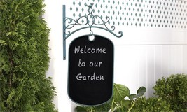 Distressed Blue Iron Hanging Chalkboard Wall Decor Sign 23.8 (in) high