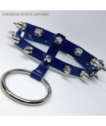 DWL Split-Band Studded Leather BDSM O-ring Collar in BLUE - $16.99