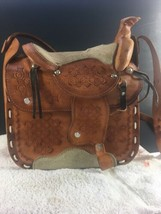 Leather Horse Saddle Purse Sherpa Lined Handbag RARE VINTAGE - $59.87