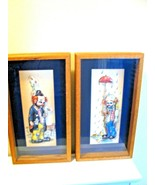 Two Piece Clown Art, original work 3D relief Unique for Clown Collectors... - $98.95