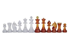 Staunton standard plastic chess pieces / chessmen - Amber / Transparent - $13.99