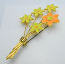 Yellow Orange Enamel Flower Bouquet Gold Tone Pin Brooch Vintage image 2
