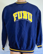 Fubu Collection Men's L Sweatshirt Blue Yellow Sports Cotton Polyester Logo - $38.61