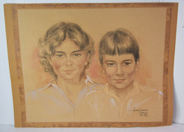 """25"""" Vintage Pastel Drawing Portraits Mother Son Capetown Artist Anthony ... - $189.99"""