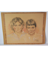"25"" Vintage Pastel Drawing Portraits Mother Son Capetown Artist Anthony ... - $189.99"