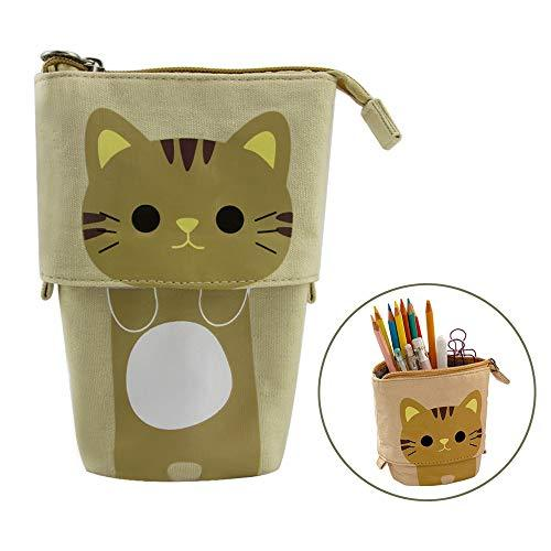 Stand Up Pencil Case, FIRSTMEMORY Cute Cat Pencil Holder Bag, Telescopic Cartoon