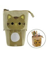 Stand Up Pencil Case, FIRSTMEMORY Cute Cat Pencil Holder Bag, Telescopic... - $16.13 CAD