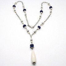 SILVER 925 NECKLACE, LAPIS LAZULI BLUE DISCO, PEARLS, PENDANT DROP image 2