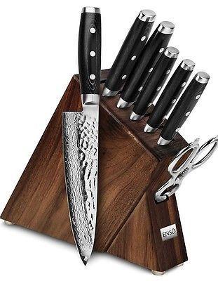 knife block set enso 8 piece premium chef quality professional razor sharp kitchen steak knives. Black Bedroom Furniture Sets. Home Design Ideas