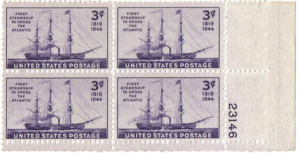 1944 First Steamship Across Atlantic Plate Block of 4 US Stamps Catalog 923 MNH